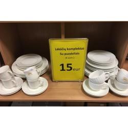 IŠPARDAVIMAS! Lėkščių ir puodelių komplektas 4 asmenims tik 15eur!